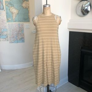 Knot sisters striped high neck maxi dress pockets